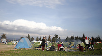 Pictured: The temporary refugee camp site Thursday 25 February 2016<br /> Re: Refugees have been left stranded in temporary camps after Greek FYRO Macedonian borders were closed in Idomeni, northern Greece.