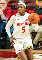 COLLEGE PARK, MD - DECEMBER 8: Kaila Charles #5 of Maryland moves up during a game between Loyola University and University of Maryland at Xfinity Center on December 8, 2019 in College Park, Maryland.