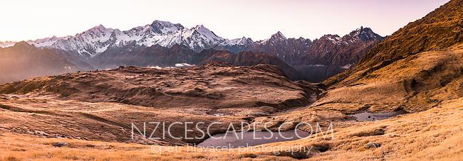 Dawn over Southern Alps with main highest peaks Aoraki Mount Cook, Mount Tasman and La Perouse, Westland Tai Poutini National Park, UNESCO World Heritage Area, West Coast, New Zealand, NZ