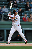 Third baseman Michael Chavis (11) of the Greenville Drive bats in a game against the Asheville Tourists on Thursday, April 7, 2016, at Fluor Field at the West End in Greenville, South Carolina. Greenville won, 4-3. (Tom Priddy/Four Seam Images)