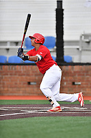 Johnson City Cardinals first baseman Luis Bandes (35) swings at a pitch during a game against the Danville Braves at TVA Credit Union Ballpark on July 23, 2017 in Johnson City, Tennessee. The Cardinals defeated the Braves 8-5. (Tony Farlow/Four Seam Images)