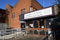 Pictured: Haverfordwest Magistrates Court, west Wales, UK. Wednesday 11 January 2017<br /> Re: A man has cut his throat in the dock at Haverfordwest Magistrates' Court as he waited to be sentenced for a sex attack.<br /> Lukasz Robert Pawlowski, 33, had pleaded guilty to sexual assault by grabbing and kissing a shop assistant.<br /> Pawlowski, of Bush Street, Pembroke Dock, was appearing for sentence at the Pembrokeshire court when the incident happened.<br /> He has been taken to a Swansea hospital by air ambulance.<br /> Following the incident, an emergency call was made from the court at 10:20 GMT.<br /> It is unclear where and how Pawlowski gained access to the weapon.<br /> It is understood he lost consciousness and a lot of blood after the incident, but is now awake and is receiving medical treatment.