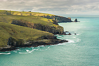 Headlands of Banks Peninsula and Pacific Ocean, Canterbury, South Island, New Zealand