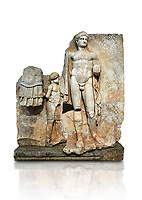 Roman Sebasteion relief  sculpture of Emperor Nero with captive, Aphrodisias Museum, Aphrodisias, Turkey.   Against a white background.<br /> <br /> Naked warrior emperor Nero holds the orb of world rule in one hand and crowns the military trophy with the other. Between the trophy and the emperor stands a bound captive boy. He wears long barbarian trousers and looks up at Nero.