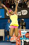 Serena Williams (USA) celebrates her 6-3, 7-6 victory over Maria Sharapova (RUS in the finals,