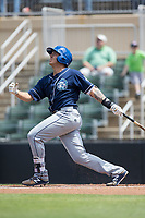 Colton Welker (24) of the Asheville Tourists follows through on his swing against the Kannapolis Intimidators at Kannapolis Intimidators Stadium on May 7, 2017 in Kannapolis, North Carolina.  The Tourists defeated the Intimidators 4-1.  (Brian Westerholt/Four Seam Images)