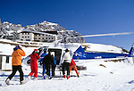 Italy, South Tyrol, Dolomites, Gardena Pass, start for heli-skiing