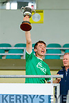 Dylan Moriarty Ballyduff captain raises the cup after the Kerry County Minor Hurling Championship Final match between Ballyduff and Ballyheihue at Austin Stack Park in Tralee, Kerry.
