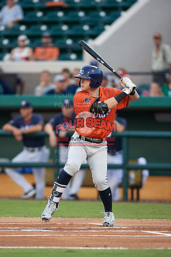Charlotte Stone Crabs shortstop Jake Cronenworth (9) at bat during the Florida State League All-Star Game on June 17, 2017 at Joker Marchant Stadium in Lakeland, Florida.  FSL North All-Stars  defeated the FSL South All-Stars  5-2.  (Mike Janes/Four Seam Images)