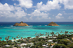 View of Mokulua Islands from ridge overlooking Lanikai