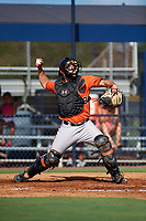Baltimore Orioles Trevor Craport (49) throws down to second base during an Instructional League game against the New York Yankees on September 23, 2017 at the Yankees Minor League Complex in Tampa, Florida.  (Mike Janes/Four Seam Images)
