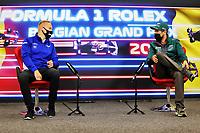 26th August 2021; Spa Francorchamps, Stavelot, Belgium: FIA F1 Grand Prix of Belgium, driver arrival day:  9 Nikita Mazepin RUS, Haas F1 Team, 5 Sebastian Vettel GER, Aston Martin Cognizant F1 Team
