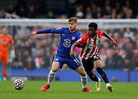 2nd October 2021; Stamford Bridge, Chelsea, London, England; Premier League football Chelsea versus Southampton; Timo Werner of Chelsea challenges Nathan Tella of Southampton