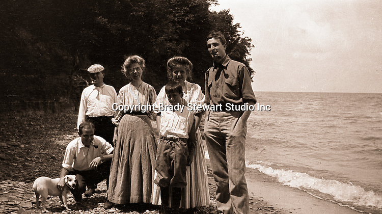 North East PA: Stewart Family Photograph, Peppy, Brady, Homer Sr, Alice Brady, Helen, Homer Jr, and Clark Stewart, by Margaret Gray.  During the early 1900s, the Stewart family vacationed on Lake Erie near North East Pennsylvania. Since hotels and motels were non-existent, camping was the only viable option for a large number of vacationers.