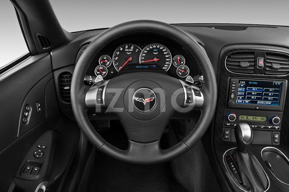 Steering wheel view of a 2010 Chevrolet Corvette GS Coupe