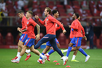 8th September 2021; PGE National Stadium, Warsaw, Poland: FIFA World Cup 2022 Football qualification, Poland versus England;  Harry Kane warms up