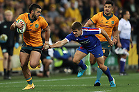 13th July 2021; AAMI Park, Melbourne, Victoria, Australia; International test rugby, Australia versus France; Tom Banks of Australia runs with the ball as Carbonel (Fra) tackles