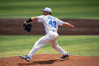 Duke Blue Devils pitcher Richard Brereton (49) delivers a pitch to the plate against the Liberty Flames in NCAA Regional play on Robert M. Lindsay Field at Lindsey Nelson Stadium on June 4, 2021, in Knoxville, Tennessee. (Danny Parker/Four Seam Images)