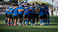 SAN JOSE, CA - JULY 24: San Jose Earthquakes players huddle before a game between San Jose Earthquakes and Houston Dynamo at PayPal Park on July 24, 2021 in San Jose, California.