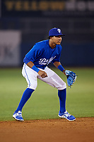 Tulsa Drillers shortstop Erick Mejia (11) during a game against the Corpus Christi Hooks on June 3, 2017 at ONEOK Field in Tulsa, Oklahoma.  Corpus Christi defeated Tulsa 5-3.  (Mike Janes/Four Seam Images)