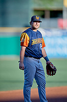 Sheldon Neuse (21) of the Las Vegas Aviators on defense against the Salt Lake Bees at Smith's Ballpark on July 20, 2019 in Salt Lake City, Utah. The Aviators defeated the Bees 8-5. (Stephen Smith/Four Seam Images)