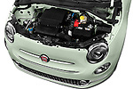 Car Stock 2016 Fiat 500 Lounge 3 Door Hatchback Engine  high angle detail view