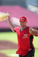 Salem-Keizer Volcanoes pitcher Matt Graham #33 before a game against the Spokane Indians at Volcanoes Stadium on August 10, 2011 in Salem-Keizer,Oregon. Salem-Keizer defeated Spokane 7-6.(Larry Goren/Four Seam Images)