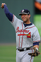 First baseman Edison Sanchez (2) of the Rome Braves before a game against the Greenville Drive on Tuesday, August 20, 2013, at Fluor Field at the West End in Greenville, South Carolina. Rome won, 4-2. (Tom Priddy/Four Seam Images)