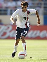 Jonathan Bornstein dribbles. The USA defeated China, 4-1, in an international friendly at Spartan Stadium, San Jose, CA on June 2, 2007.