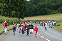 Waiting for the arrival of the racers.  Olympics 2012.  Women's cycle road race passes along the Shere bypass, the A25, on it's way to Box Hill and then back to the finish in London.