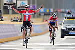 Danish Champion Kasper Asgreen (DEN) Elegant-Quick Step outsprints Dutch Champion Mathieu van der Poel (NED) Alpecin Fenix to win the 2021 Tour of Flanders running 254.3km from Antwerp to Oudenaarde, Belgium. 4th April 221.  <br /> Picture: Serge Waldbillig | Cyclefile<br /> <br /> All photos usage must carry mandatory copyright credit (© Cyclefile | Serge Waldbillig)