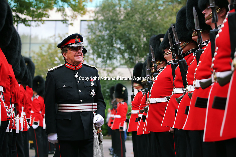 Pictured: H.M. Lord Lieutenant of West Glamorgan<br />D Byron Lewis inspects the Welsh Guards in Castle Square in Swansea.  Friday 15 September 2017<br />Re: Soldiers from the Welsh Guards have exercised their freedom to march through the streets of Swansea in Wales, UK.<br />The Welsh warriors paraded with bayonets-fixed from the city centre to the Brangwyn Hall, where the Lord Mayor of Swansea took a salute.