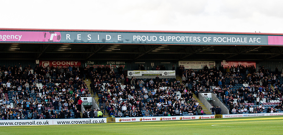 Bolton Wanderers' supporters<br /> <br /> Photographer Andrew Kearns/CameraSport<br /> <br /> The Carabao Cup First Round - Rochdale v Bolton Wanderers - Tuesday 13th August 2019 - Spotland Stadium - Rochdale<br />  <br /> World Copyright © 2019 CameraSport. All rights reserved. 43 Linden Ave. Countesthorpe. Leicester. England. LE8 5PG - Tel: +44 (0) 116 277 4147 - admin@camerasport.com - www.camerasport.com
