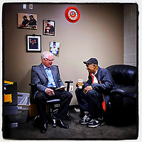 SAN FRANCISCO, CA - FEBRUARY 3: iPhone Instagram of Hall of Famer Willie Mays being interviewed by sports writer John Shea in the San Francisco Giants clubhouse at Oracle Park on Monday, February 3, 2020 in San Francisco, California. (Photo by Brad Mangin)