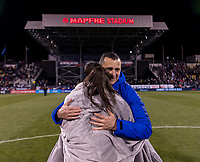 COLUMBUS, OH - NOVEMBER 07: Vlatko Andonovski of the United States congratulates Christen Press #23 during a game between Sweden and USWNT at Mapfre Stadium on November 07, 2019 in Columbus, Ohio.