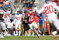 Arkansas wide receiver Treylon Burks (16) carries the ball, Saturday, October 17, 2020 during the second quarter of a football game at Donald W. Reynolds Razorback Stadium in Fayetteville. Check out nwaonline.com/201018Daily/ for today's photo gallery. <br /> (NWA Democrat-Gazette/Charlie Kaijo)