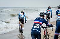 Toon Vandenbosch (BEL/Pauwels Sauzen-Bingoal) ending up in the sea<br /> <br /> UCI 2021 Cyclocross World Championships - Ostend, Belgium<br /> <br /> U23 Men's Race<br /> <br /> ©kramon
