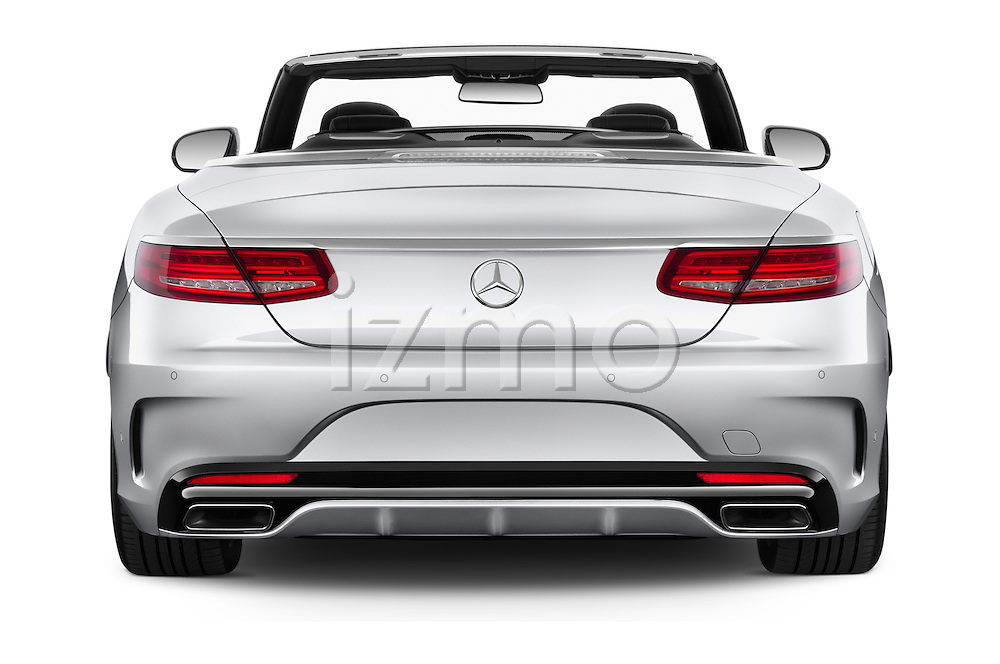 Straight rear view of 2017 Mercedes Benz S-Class AMG-Line 2 Door Convertible Rear View  stock images