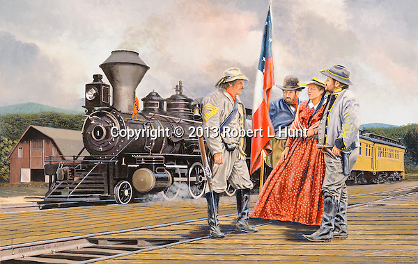 """Confederate cavalrymen and two civilians in July 1861 talk of rumors of Union troop movements toward their station at Manassas Junction, Virginia, on the Orange and Alexandria Railroad, with one of their locomotives and passenger trains in the background. Oil on canvas, 18"""" x 28""""."""