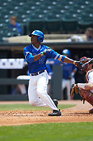 Kennie Taylor (15) of the Duke Blue Devils follows through on his swing against the Florida State Seminoles in the first semifinal of the 2017 ACC Baseball Championship at Louisville Slugger Field on May 27, 2017 in Louisville, Kentucky. The Seminoles defeated the Blue Devils 5-1. (Brian Westerholt/Four Seam Images)