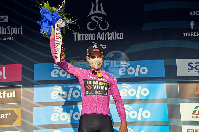 Wout Van Aert (BEL) Team Jumbo-Visma Stage 1 and wears the first points Maglia Ciclamino of Tirreno-Adriatico Eolo 2021, running 156km from Lido di Camaiore to Lido di Camaiore, Italy. 10th March 2021. <br /> Photo: LaPresse/Gian Mattia D'Alberto | Cyclefile<br /> <br /> All photos usage must carry mandatory copyright credit (© Cyclefile | LaPresse/Gian Mattia D'Alberto)