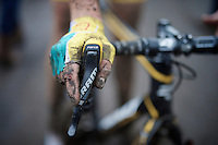 post-race fingers of Thijs Van Amerongen (NLD/Telenet-Fidea)<br /> <br /> Superprestige Gavere 2014