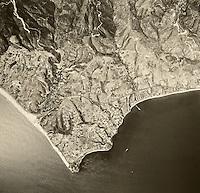historical aerial photograph Malibu, California, 1967
