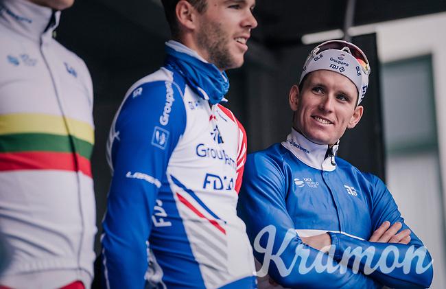 Arnaud Démare (FRA/Groupama-FDJ) at team presentation pre-race<br /> <br /> 106th Scheldeprijs 2018 (1.HC)<br /> 1 Day Race: Terneuzen (NED) - Schoten (BEL)(200km)