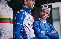 Arnaud Démare (FRA/Groupama-FDJ) at team presentation pre-race<br /> <br /> 106th Scheldeprijs 2018 (1.HC)<br /> 1 Day Race: Terneuzen (NED) - Schoten (BEL)(200km)
