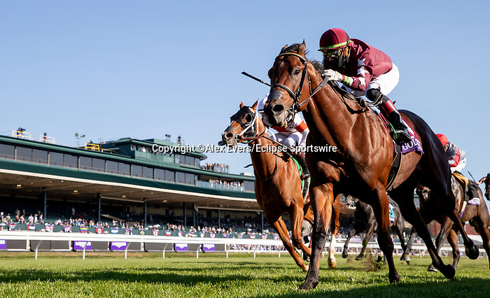 November 6, 2020: Golden Pal, ridden by Irad Ortiz, Jr., wins the Juvenile Turf Sprint on Breeders' Cup Championship Friday at Keeneland on November 6, 2020: in Lexington, Kentucky. Alex Evers/Eclipse Sportswire/CSM