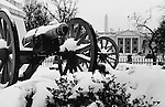 White House in Snow White from Lafayette Park with cannons Washington D.C., cannon, cannons, White House official residence of President of United States Washington D.C., 1600 Pennsylvania Avenue NW Washington D.C., Aquia sandstone in the late Georgian style, Residence of every President since John Adams, Oval office, East Wing office of First Lady and Social Secretary, West wing, White House Complex, Cabinet Room, Roosevelt Room, Old Executive Office building, Executive Residence First Family resides,  State Dinning Room, National Park Service, Presidents Park, Rose Garden, Press briefing Room, Cabinet Room, Blair House, Fine Art Photography by Ron Bennett, Fine Art, Fine Art photo, Art Photography,