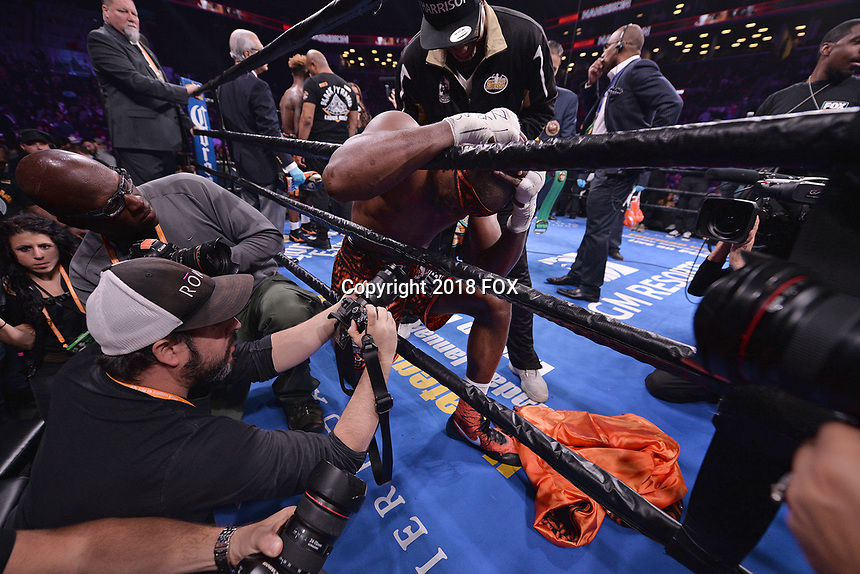 """BROOKLYN, NY - DECEMBER 22: Boxer Tony Harrison reacts after defeating Jermell Charlo during their WBC Super Welterweight Championship bout at the Fox Sports and Premier Boxing Champions  December 22 """"PBC on Fox"""" Fight Night at the Barclays Center on December 22, 2018 in Brooklyn, New York. (Photo by Anthony Behar/Fox Sports/PictureGroup)"""