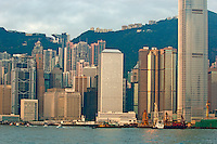 Skyline from Kowloon with Victoria Peak in the background, Hong Kong, China.