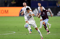 CARSON, CA - SEPTEMBER 19: Joe Corona #15 of the Los Angeles Galaxy moves to the ball during a game between Colorado Rapids and Los Angeles Galaxy at Dignity Heath Sports Park on September 19, 2020 in Carson, California.